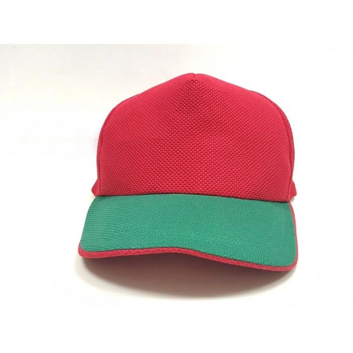 透氣網帽-綠眉紅頂