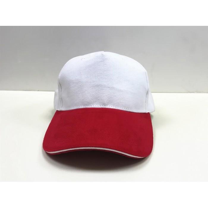 純棉帽-三明治(紅眉白頂)