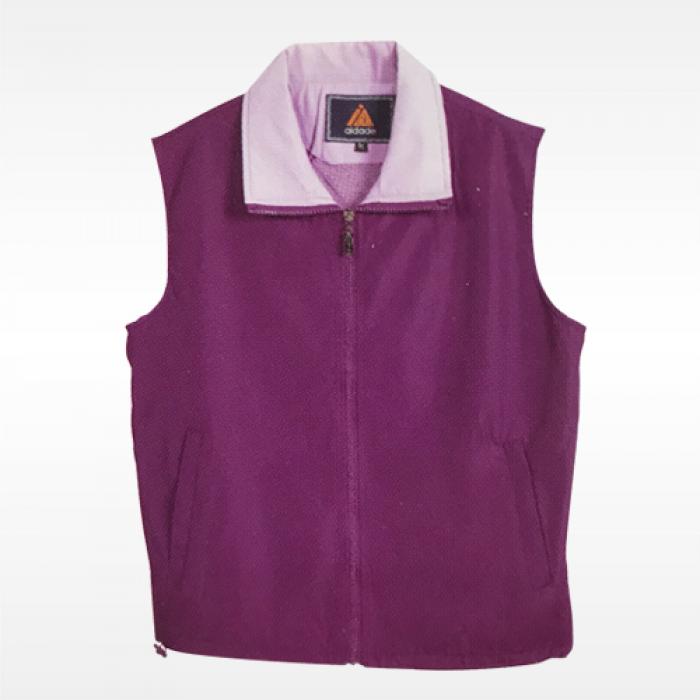 外套背心-紫底粉紅領